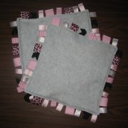 "**SALE 20% OFF**  Pink Leopard Tag Blanket 13""x13"""